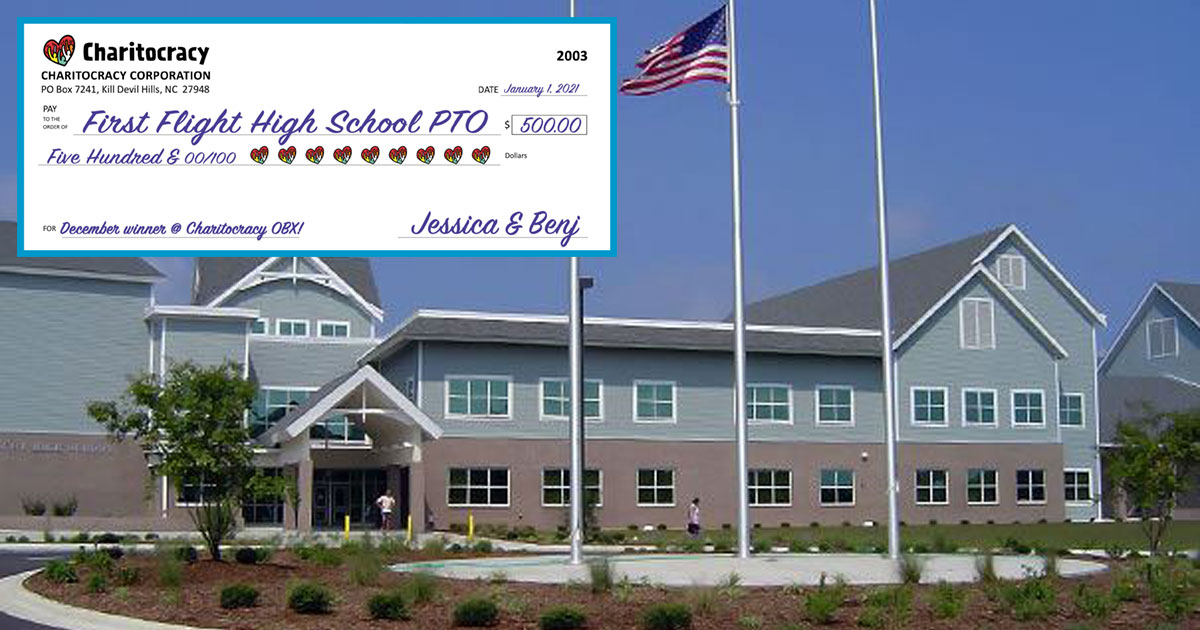 Charitocracy OBX's 3rd check to December winner First Flight High School PTO for $500