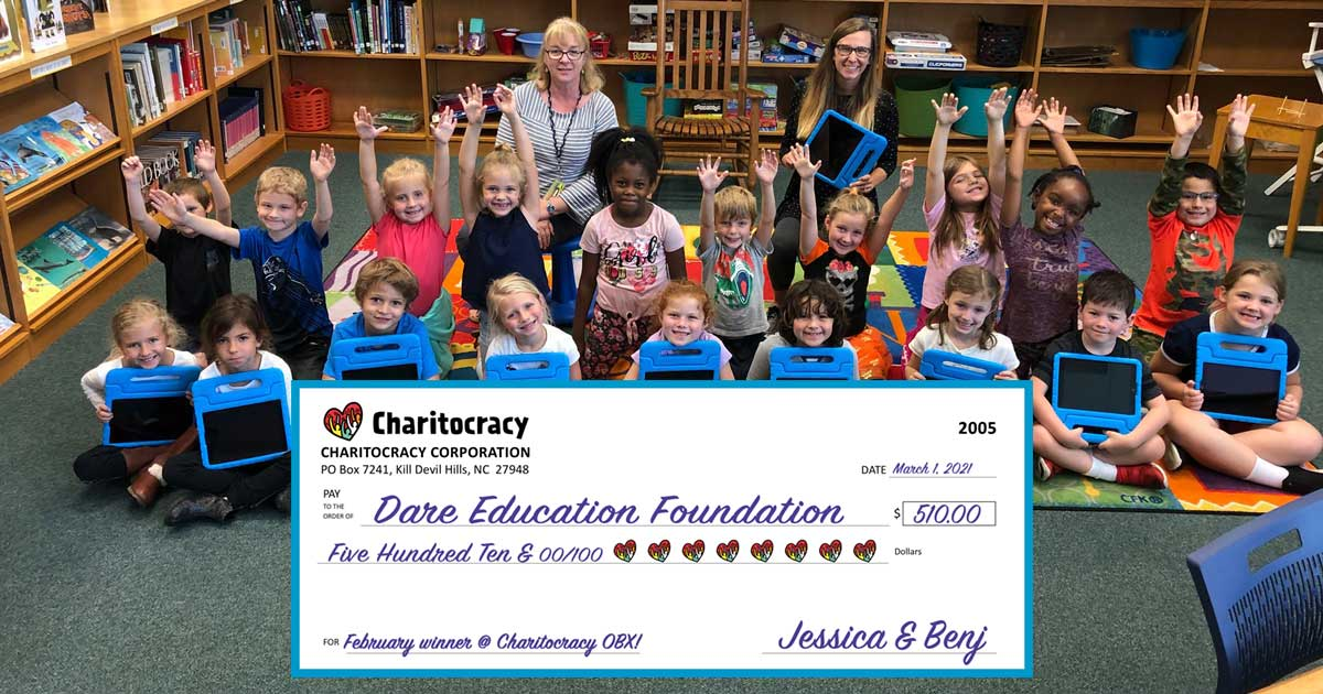 Charitocracy OBX's 5th check to February winner Dare Education Foundation for $510