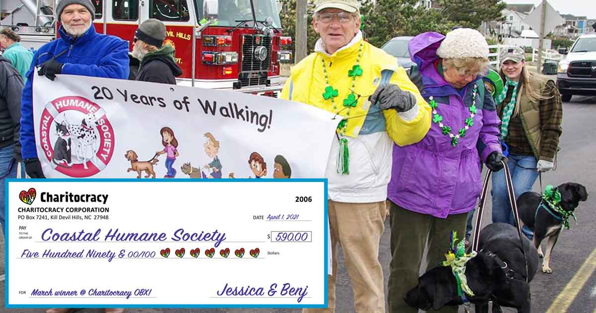 Charitocracy OBX's 6th check to February winner Coastal Humane Society for $590