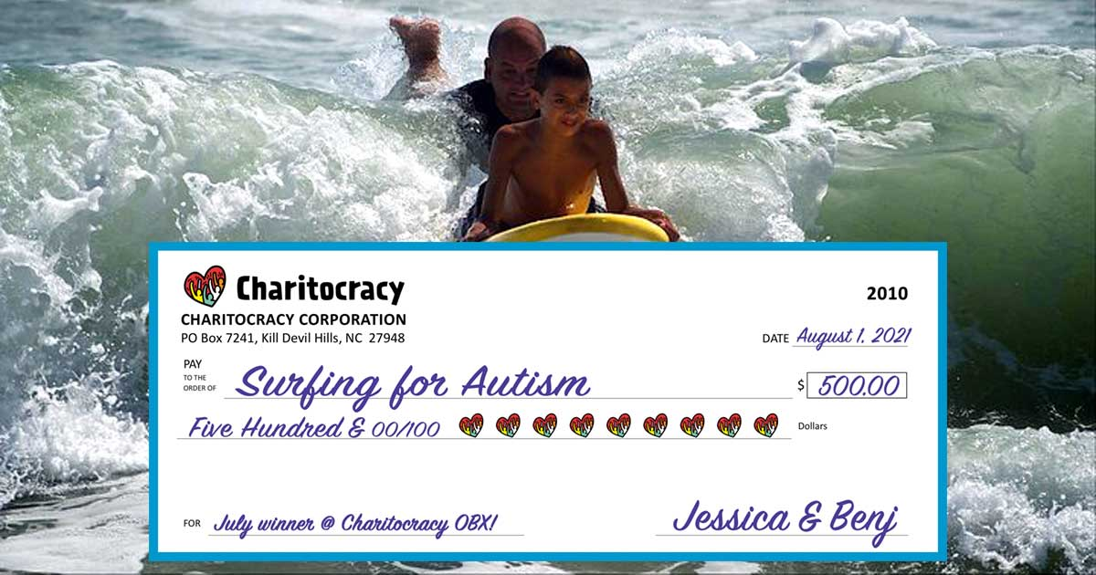 Charitocracy OBX's 10th check to July winner Surfing for Autism for $500