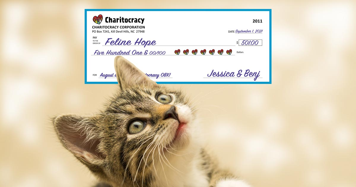 Charitocracy OBX's 11th check to August winner Feline Hope for $501