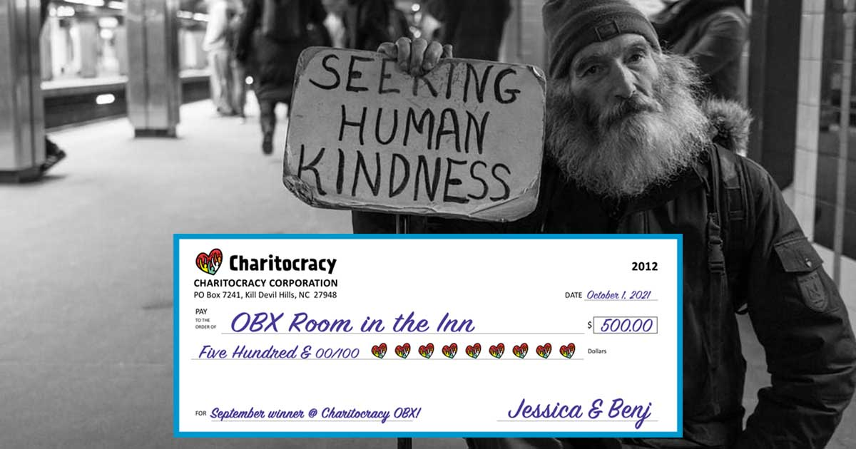 Charitocracy OBX's 12th check to September winner OBX Room in the Inn for $500